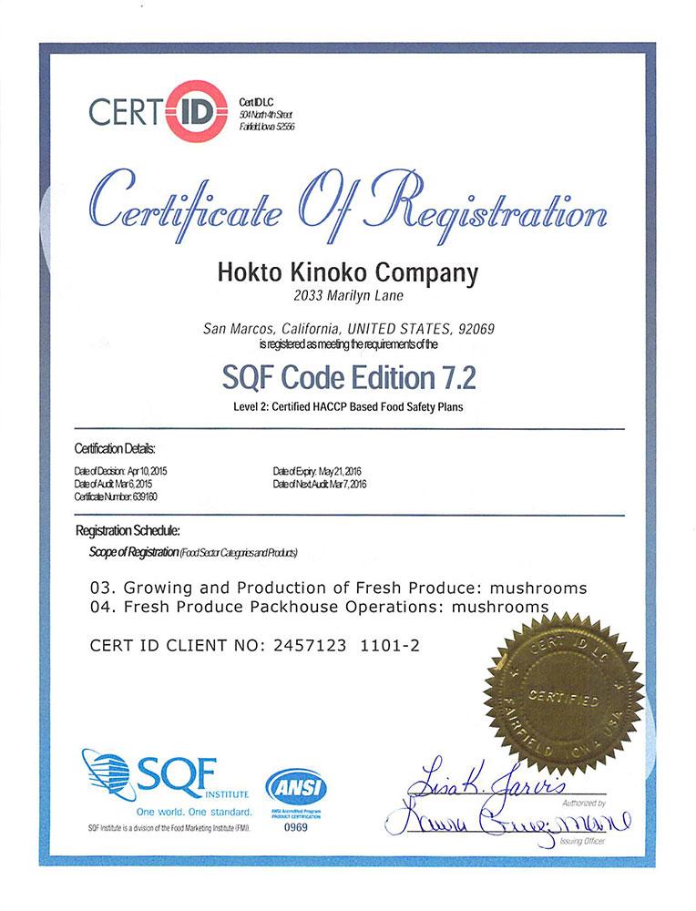 Food Safety Hokto Kinoko Company