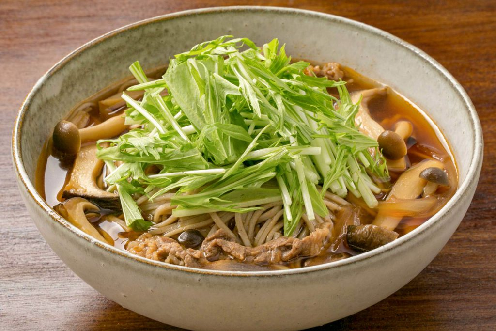 Mushroom and Beef Soba noodles